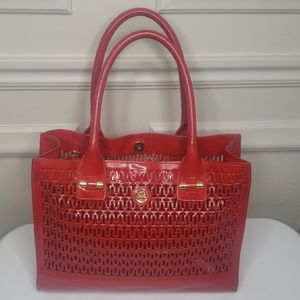 Red patent leather Tory Burch cutout tote